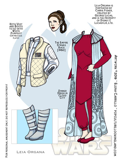 Star Wars paper dolls Leia Organa