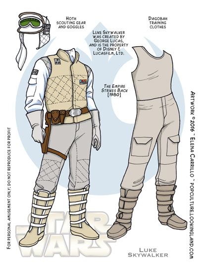 Star Wars paper dolls Luke Skywalker